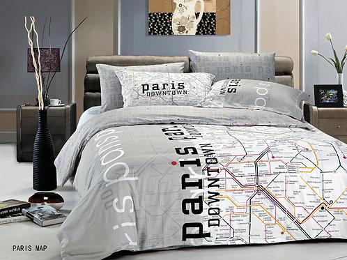 Cпален  комплект памучен сатен/Le Vele Paris Map Exclusive  Bed set
