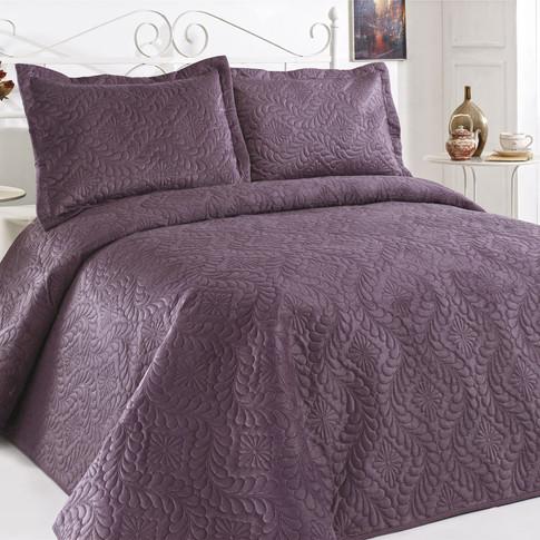Velour Bedspread Set Mauve