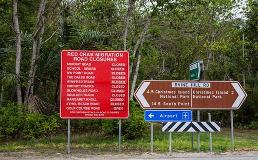 Red crab road closure sign