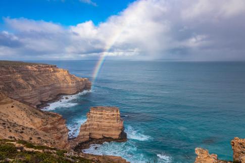 Rainbow over Island Rock