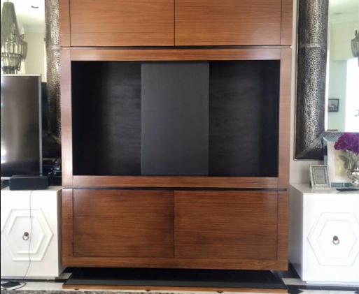 Custom media cabinet for Fort Lauderdale project