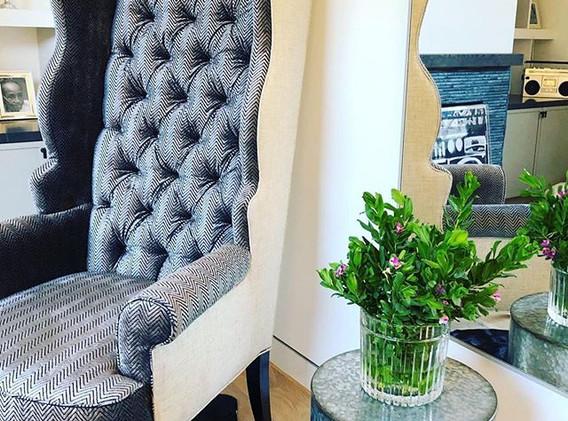 Custom designed Scallop Wingback Chairs for LA project
