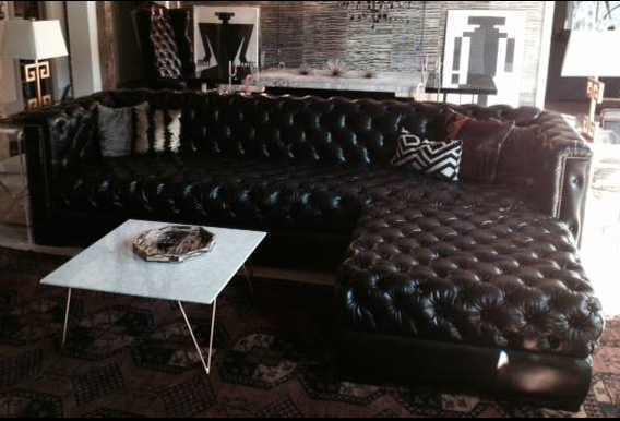 Custom oversize tufted leather sofa for Memphis project