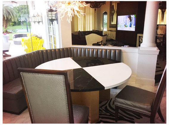 Custom Mable top kitchen table and leather banquette for our Fort Lauderdale project