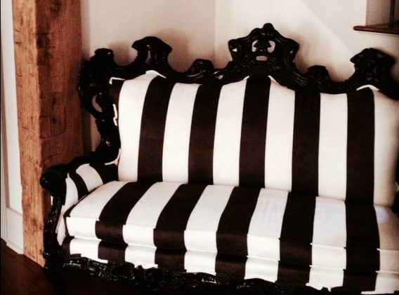 Custom ornate baroque striped sofa for our Memphis project