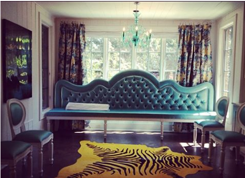 Custom turquoise kitchen banquette for a Memphis project