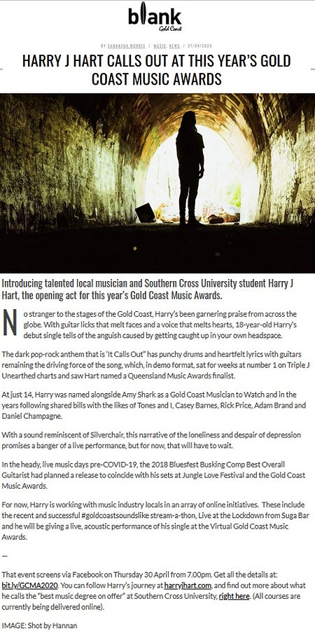 Blank GC article Harry J Hart calls out at this year's Gold Coast Music Awards