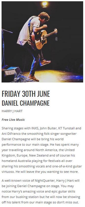 Article about Daniel Champagne gig and support Harry J Hart
