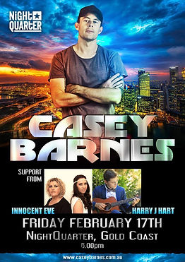 Casey Barnes gig poster with supports Innocent Eve and Harry J Hart
