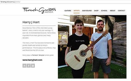 Fenech Guitars Artist page for Harry J Hart