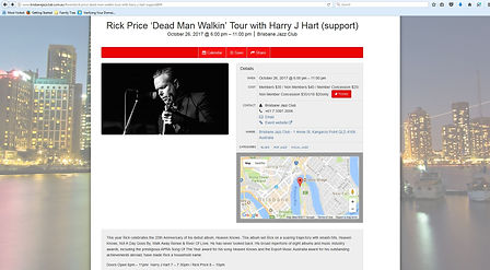 Rick Price Dead Man Walkin Tour with Harry J Hart support