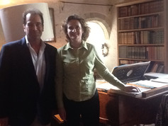 With pianist Wendy Hiscocks at   Shulbrede Priory playing duets by Parry on his piano.