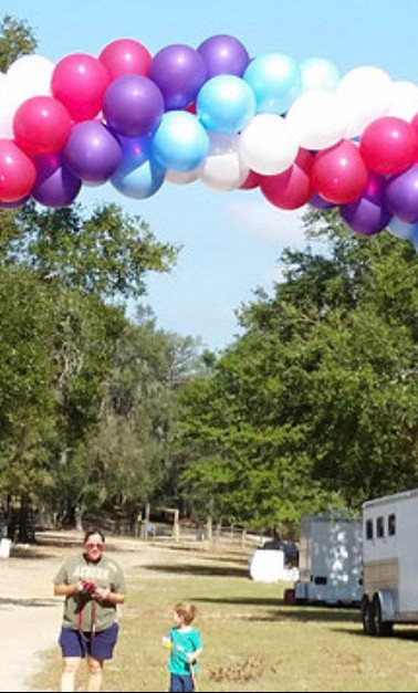 BLUE, WHITE, PINK & PURPLE SWIRL ARCH