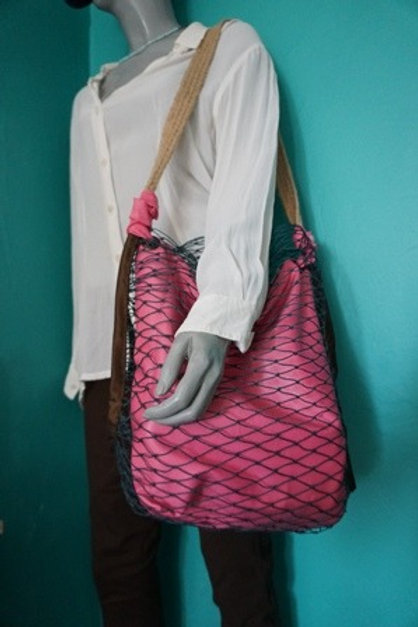 pinky bag in fishing net
