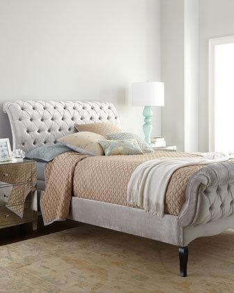 Velvet Rolled & Tufted Bed