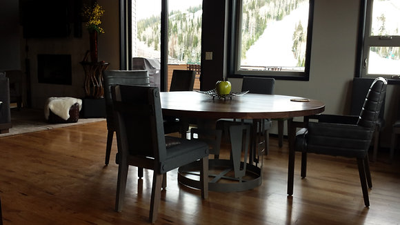 Walnut & Iron Custom Round Dining Table