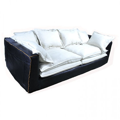 Relaxed Black Leather Sofa