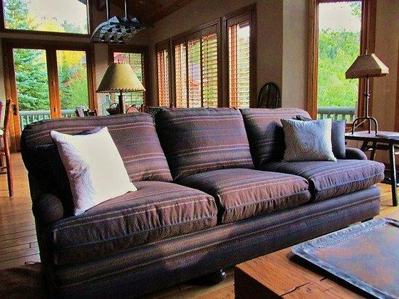 Classic Cashmere  Brown & Grey Stripe Wool Sofa