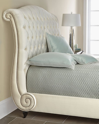 Louie Rolled & Tufted Linen Bed
