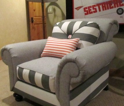 Over- Stuffed Graphite & Persimmon Chair