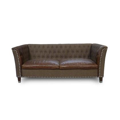 Worn Leather & Linen Sofa