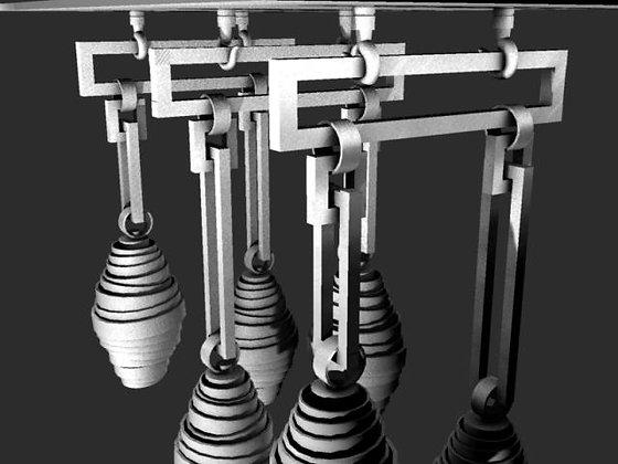 Over- Sized Twisted steel multi pendant light