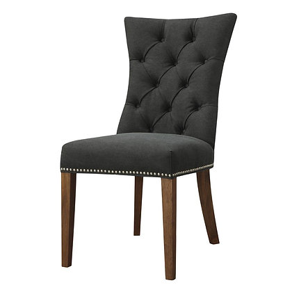 Graphite Grey Linen Dining Chair