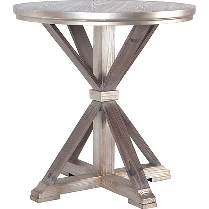 Metallic Finish Wood Accent Table