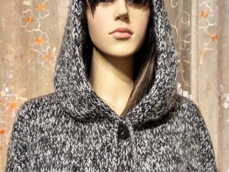 Длинное пальто из мохера с капюшоном и карманами!