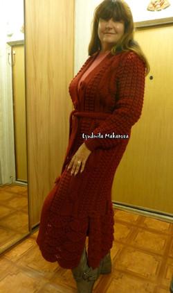 Вязаное пальто Алсацийские гребешки
