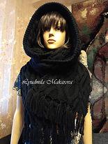 черный  шарф  капюшон  шарф вязаный  шарф женский  вязаный шарф  шарф ручной работы  шарф-снуд Вязаный капюшон  шарф капюшон  капюшон вязаный