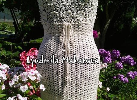Белое ажурное элегантное платье 👗 ручной работы. Крючок.