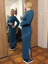 вязаное платье, вязаное платье спицами, платье в пол, платье с аранами, платье с косами, круглая кокетка, вязание на заказ, вязаное платье на заказ Москва, длинное вязаное платье