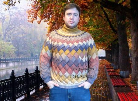 """Мужской свитер в технике """"Энтерлак"""""""
