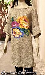 Пуловер с розами Santorini, пуловер, интарсия, жаккард, розы, Rowan, трискеле,туника ручной работы, туника спицами, пуловер спицами