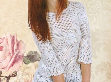 Очаровательная белая ажурная блузка.