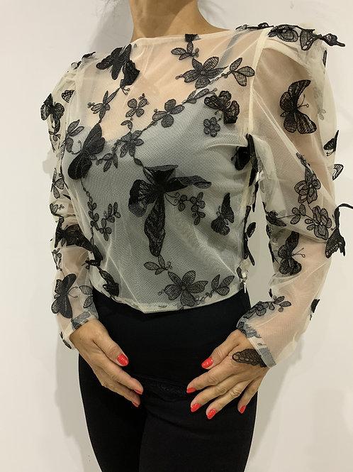 Blusa transparente com bordados INFLUENCER