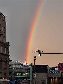 Regenbogen über Köln zum Litfest homochrom