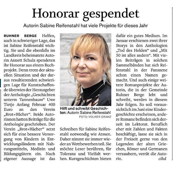 Sabine Reifenstahl, Artikel 15.02.2021, Brot + Bücher