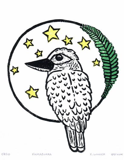 Kookaburra Linocut