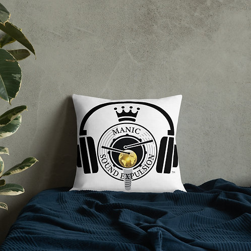 Premium Pillow with Astronaut Image & Manic Sound Expulsion logo on the back