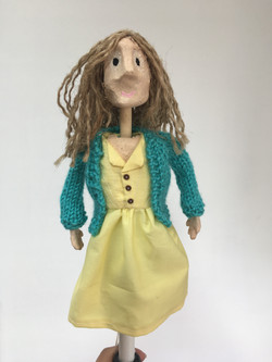 Puppet dress and knitted cardigan