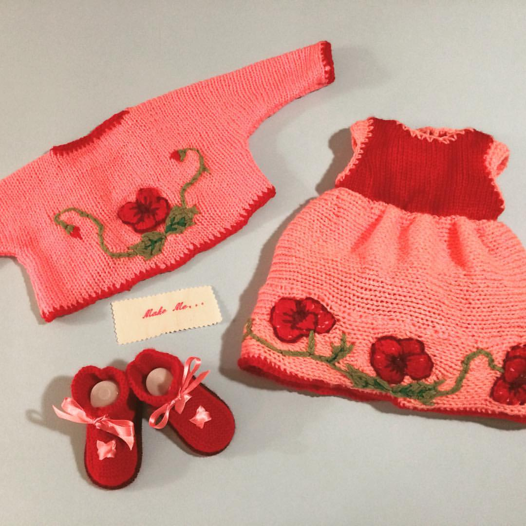 Knitted Baby Poppy outfit