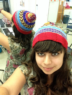 Fair isle knitted patterned hat