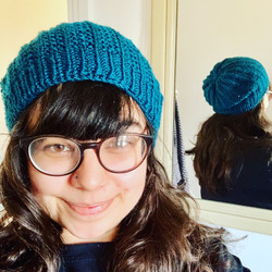 hand knitted slouch beanie teal textured knit