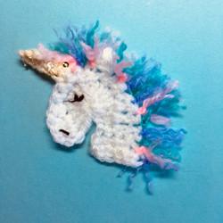 Crochet Unicorn Brooch
