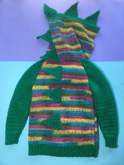 Dinosaur Spikes Crocheted Hoodie