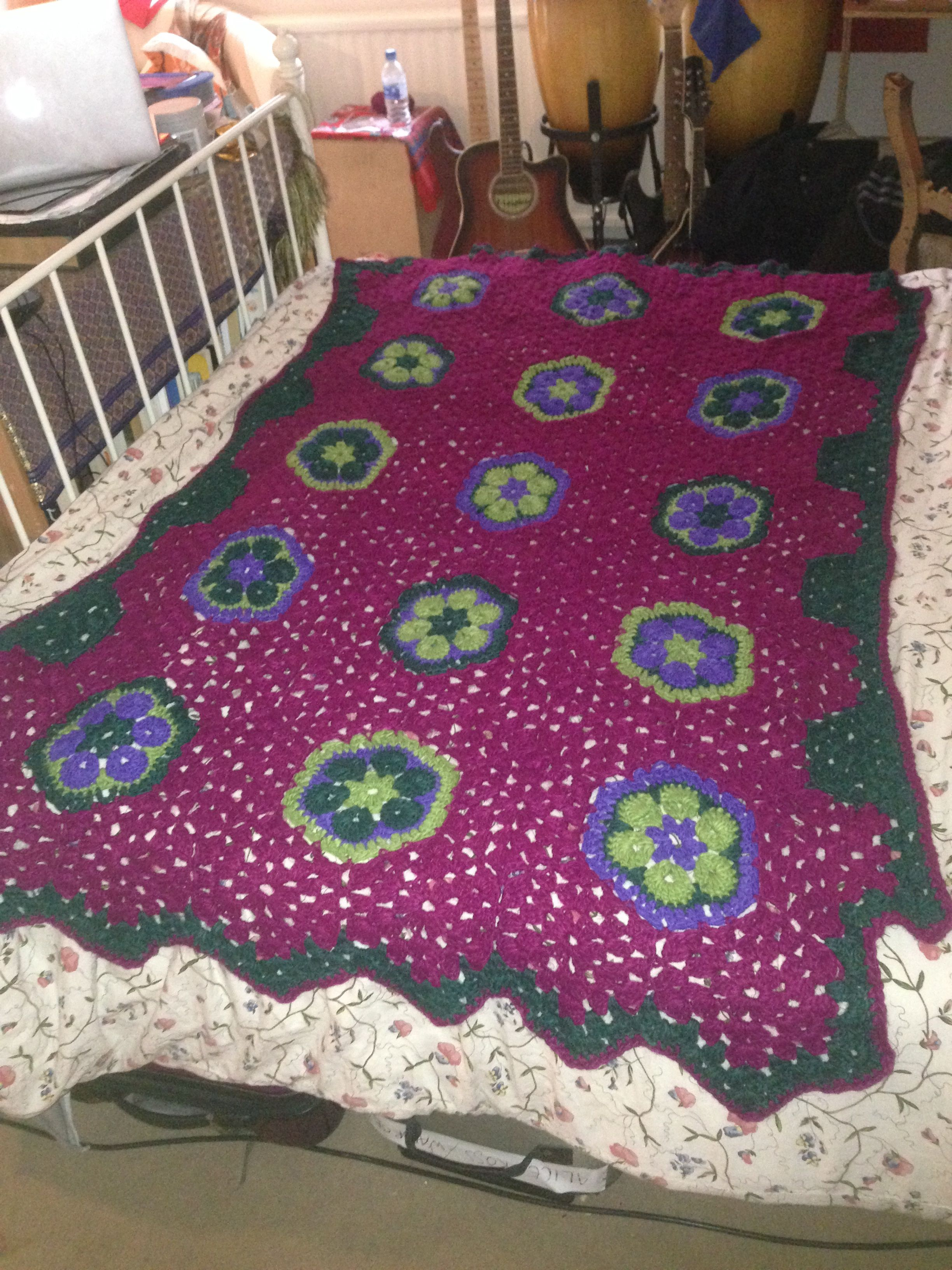 Crochet Hexagon flower throw blanket