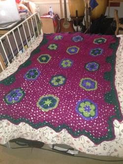 Crochet Hexagon flower throw blanket