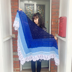 Hand Crocheted Shawl Wrap Blue Ombre White Scalloped Edge